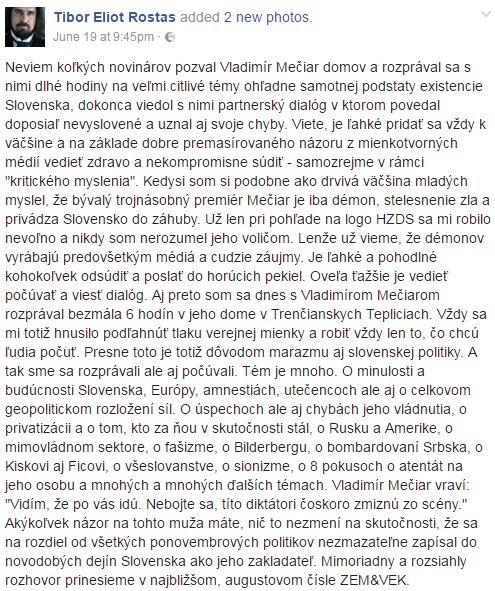 Status Tibora Eliota Rostasa