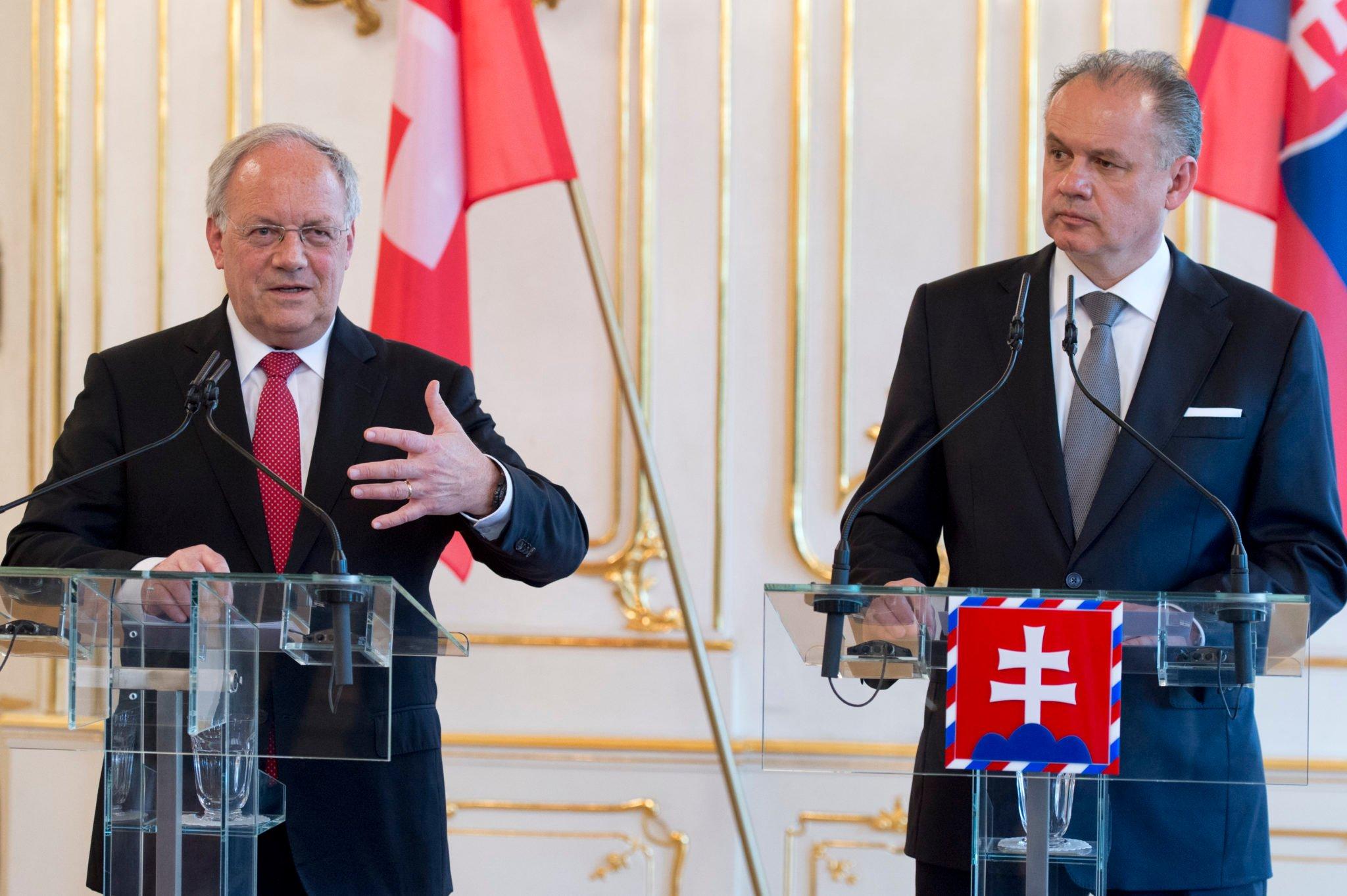Prezident Švajčiarska debatoval s Kisom o vzájomnej spolupráci. Zdroj  TASR    Pavel Neubauer c0f39731033