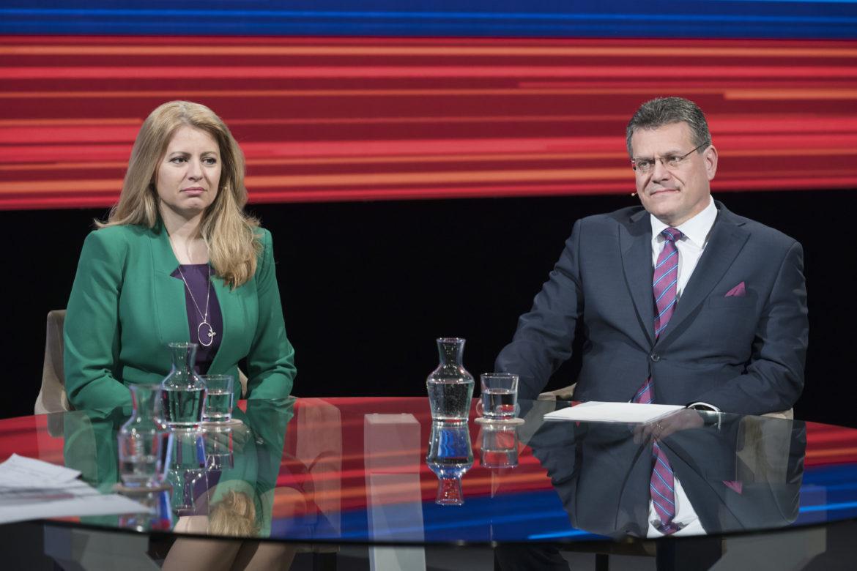 Zuzana Čaputová a Maroš Šefčovič sa stretli v prvej povolebnej debate vo  verejnoprávnej televízii. Zdroj  TASR - Pavel Neubauer b4999a4f555