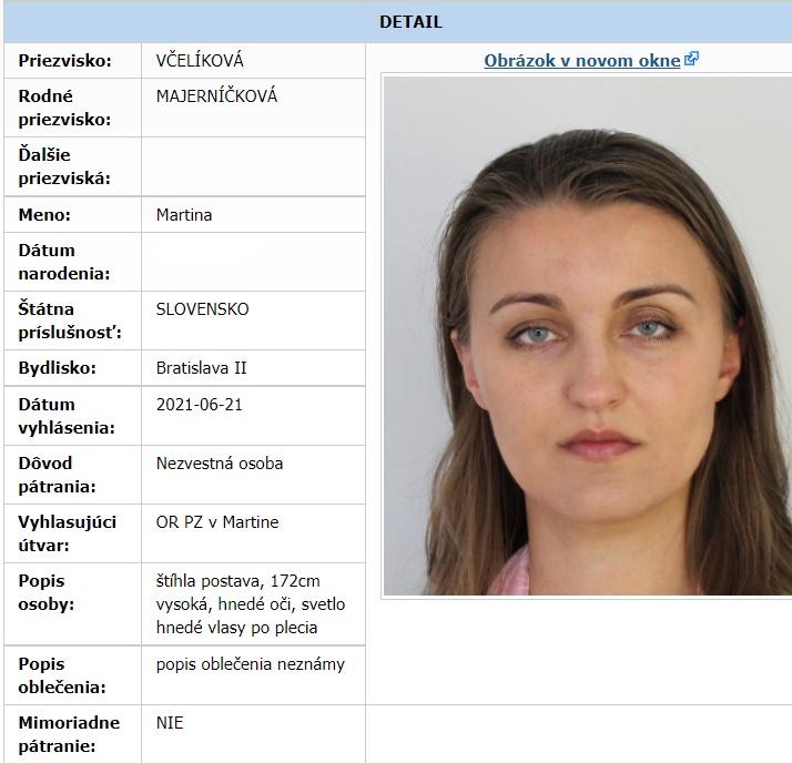 Martina Včelíková pátranie polícia nezvestná